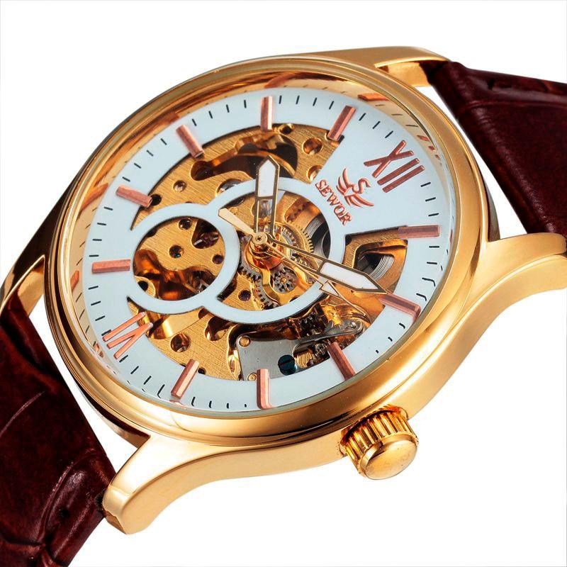 SEWOR Skeleton Automatic Luxury Watch Men 2016 Top Brand Leather Clock Automatic Mechanical Self-wind Luxury Watch Men SWQ23 цена и фото