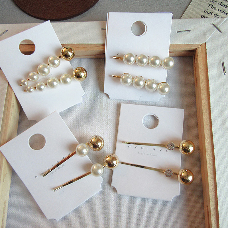 Sale 1PC Vintage Alloy Imitiation Pearl Women Hairpins Cute Ball Hair Clips Simple Barrettes Hair Styling tool in Styling Accessories from Beauty Health