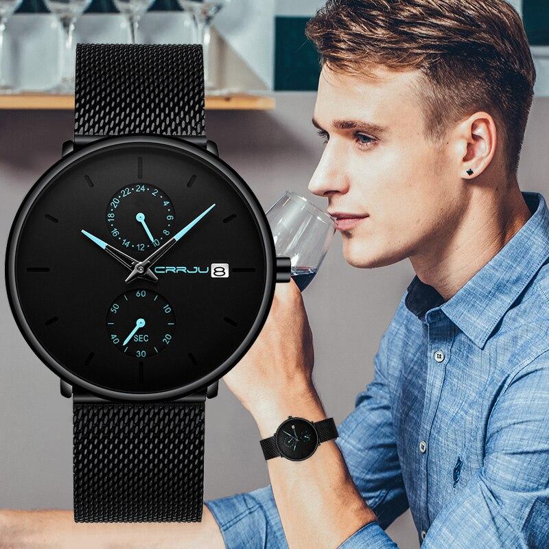 Marca de Luxo Relógios de Quartzo Negócios à Prova Crrju Nova Moda Ultra-fino Relógio Masculino Homens Casual Dwaterproof Água Esporte Relógios