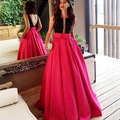 Real Photo Two Tone Ballgown Formal Evening Dresses Black Crystal Boat Neck Deep  Back with Sash Long Pageant Prom Gowns
