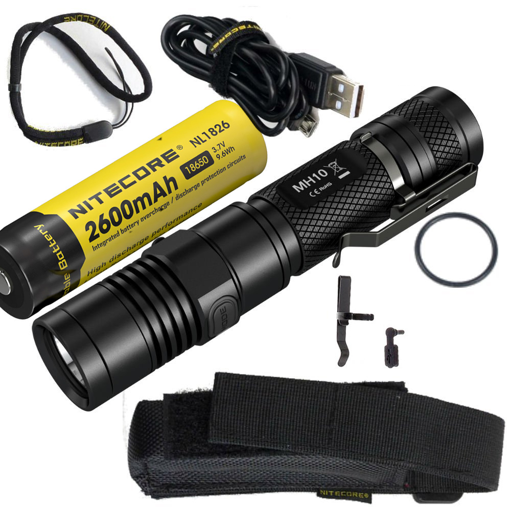 Nitecore MH10 USB charging 1000Lm Cree XM-L2 U2 LED flashlight with Nitecore 18650 Nl1826 battery rechargeable battery цена