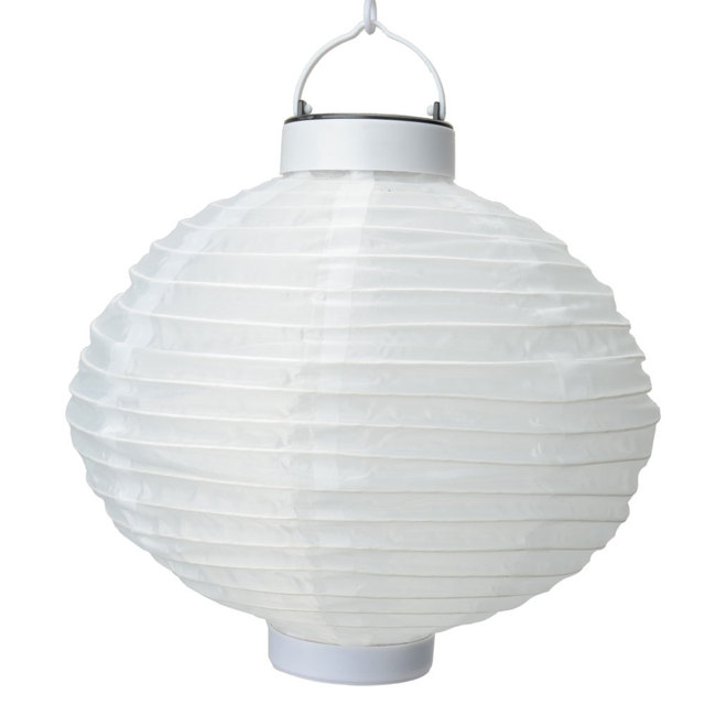New Fashion Outdoor Solar Light Chinese Round Paper Lantern Ivory White Wedding Party Home Garden Decoration Accessories