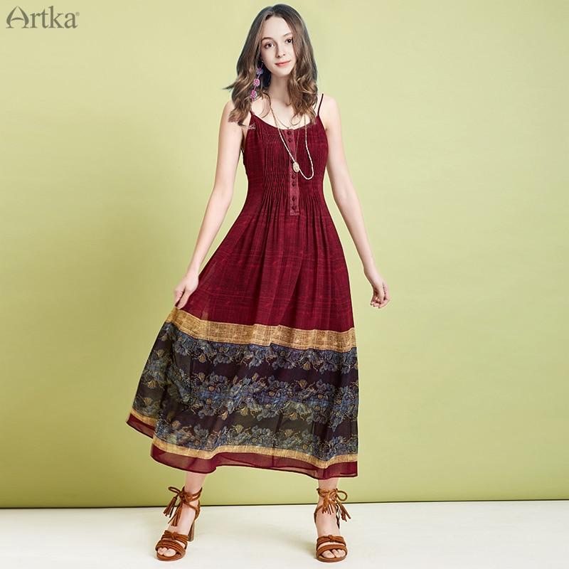 ARTKA 2019 Summer Women Dresses Bohemian Vintage Dress Ethnic Style Print Dress Chiffon Long Spaghetti Strap