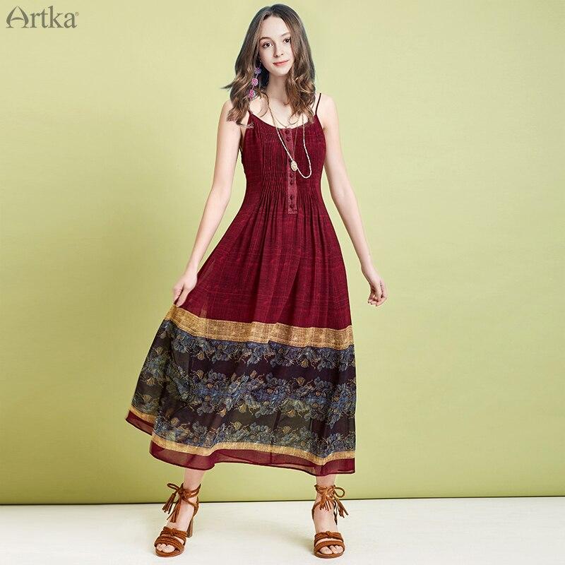 1b460de3 ARTKA 2019 verano mujeres vestidos bohemio Vintage vestido estampado estilo  étnico vestido de gasa ...