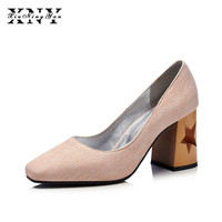 XIUNINGYAN 2018 New Women Spring Shoes Square Heel Pumps Shallow Fashion Dress 8cm Heel Shoes For