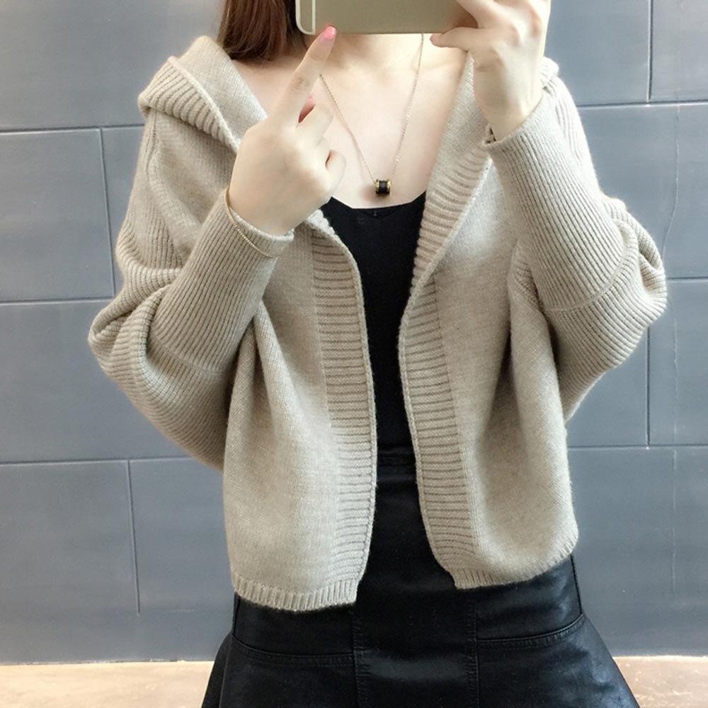 Sisjuly women cardigan short sweater batwing sleeve hooded solid knitwear fashion warm casual soft plus size outwear sweater