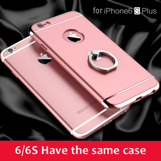 Rose Gold Case For Iphone 6 6s Plus Metal Finger Ring Back Cover For