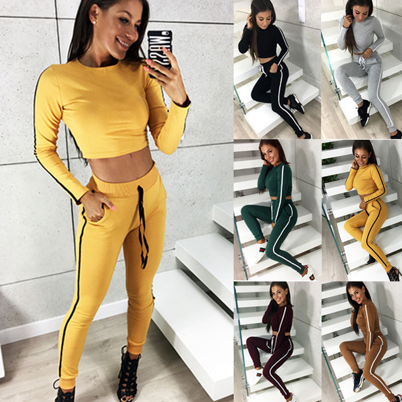 2020 New Women Two Piece Outfits O Neck Long Sleeve Short Long Pants Suits Two Pieces Sets Sporting Tracksuit Outfit plus size