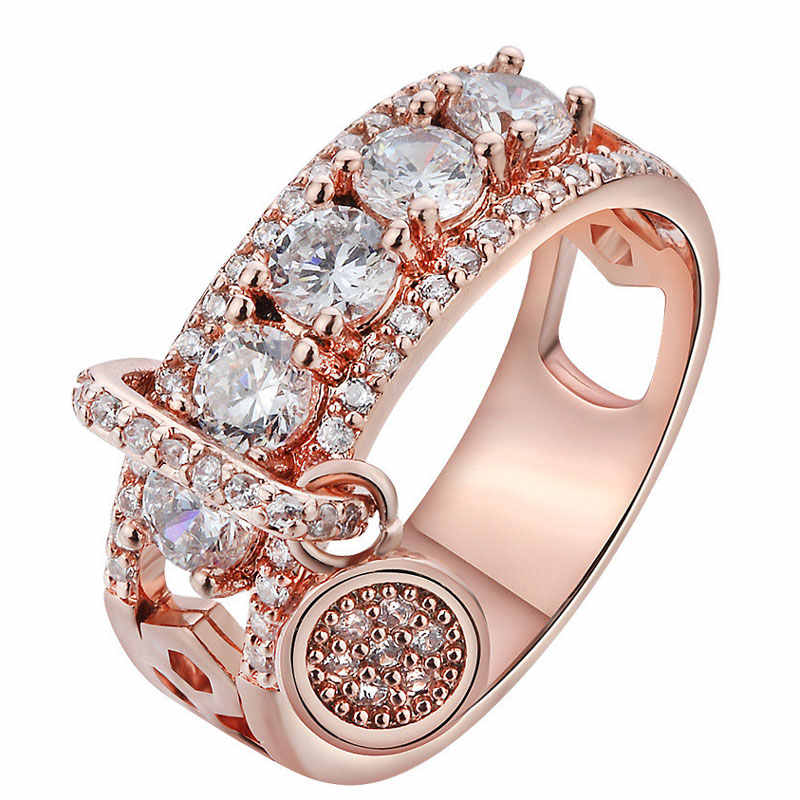 ZORCVENS New Arrival Vintage Rose Gold Filled Wedding Rings For Women Fashion Jewelry Luxury White Zircon Engagement Ring
