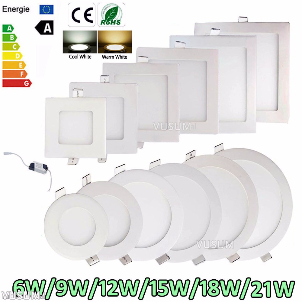 LED Ceiling Light Panel Light 6W 9W 12W 15W 18W 21W AC85-265V Indoor Lighting, Round/Square LED Light