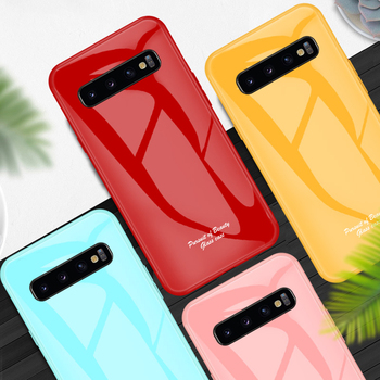 Candy Color Tempered Glass Case For Samsung Galaxy S8 S9 S10 Plus S10E S10X Note 8 9 S10 5G Case Simple solid Back Cover