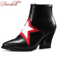 Cowboy Boot Women Genuine Leather Ankle Boots Fashion Pointed Toe Appliques Star Autumn Casual Dress Shoes