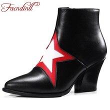 Ковбойские ботинки женские ботильоны на меху из натуральной кожи модные с острым носком аппликации Звезда осень Повседневное платье обувь женские сапоги для верховой езды