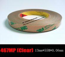 (2.3 mils) 13mm * 55m 3m467mp 200mp filme claro dupla face cola fita de transferência pegajosa para pcb, placa de identificação, tela, junta de borracha