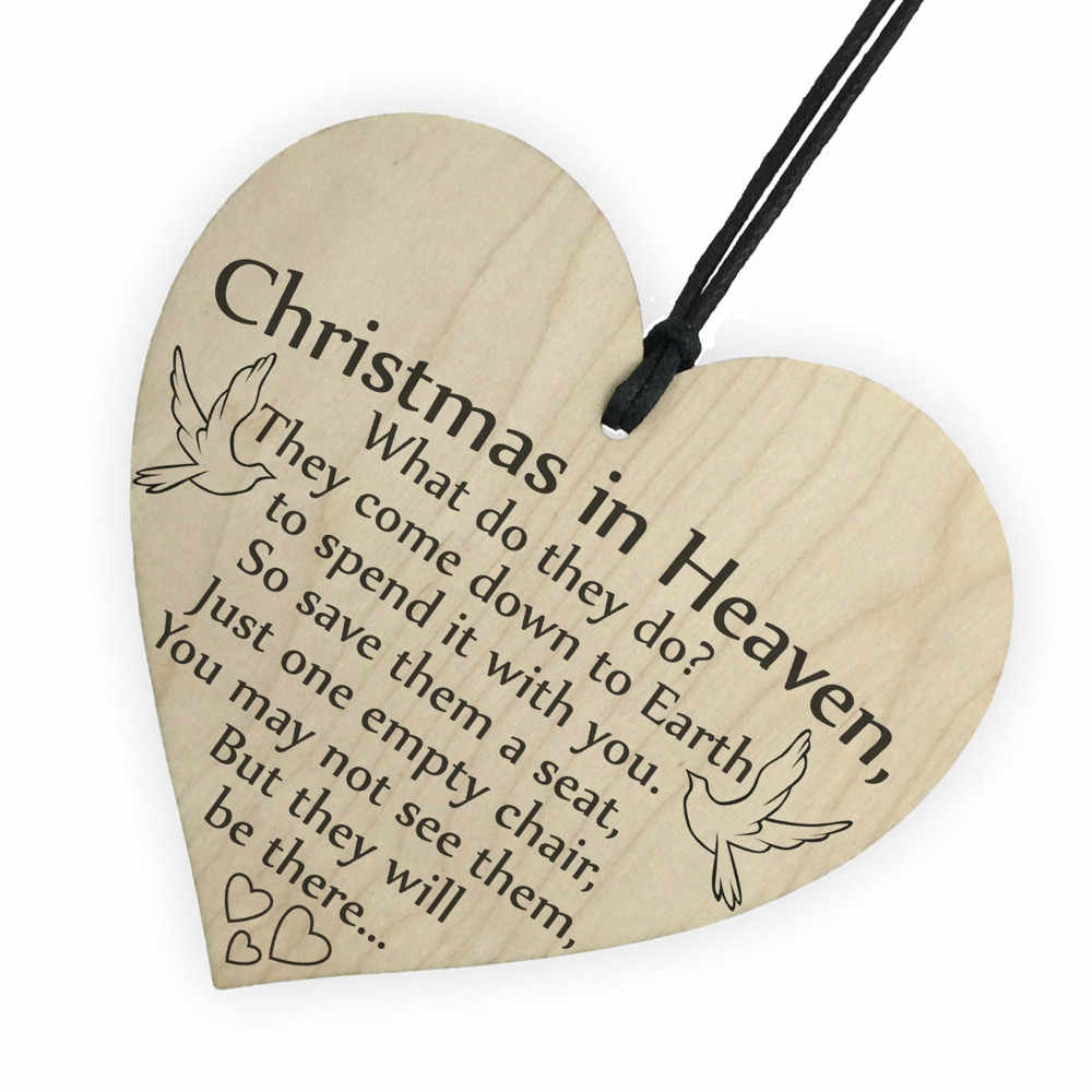 Christmas Santa Claus Ornaments Xmas Tree Hanging in Heaven Wood Heart Plaque Sign For Home Christmas Party New Year Decor F#