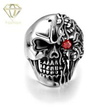 Halloween Gift 316L Stainless Steel Men's Unique Star Skull Warrior Red Zirconia Eye Rings Punk Vintage Jewelry Factory Price