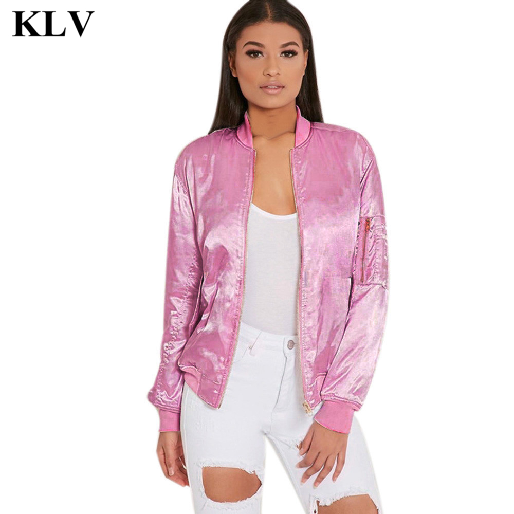 Fashion New Women Ladies Satin Bomber Jacket Vintage Solid Stand Collar Zipper Pocket Coat Pilot Air Force Army Outerwear Sep21