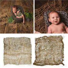 Фон для фотосъемки новорожденных ручной работы из джута, одеяло для детской фотосъемки, массивный слой из мешковины, студийный реквизит