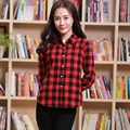 2016 Hot Brand Women Blouses Long Sleeve Flannel Plaid Shirts Women Casual Cotton Plus Size Shirt Young Style Blusas Femininas