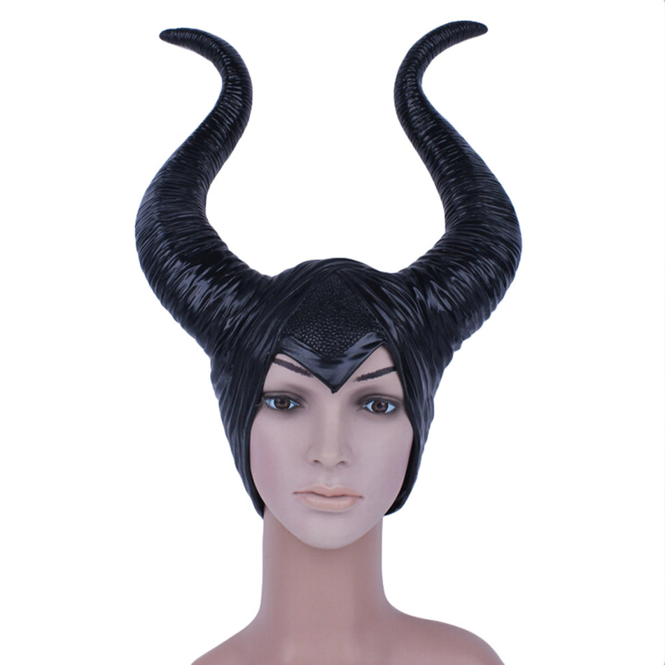 Maleficent Mask Movie Maleficent Latex Horns Headpiece Halloween Female Masquerade Party Cosplay Rubber Head Masks