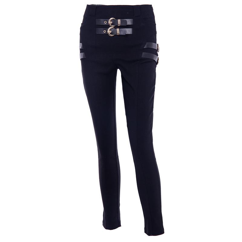 Fashion Tooling Double Side Pockets With Metal O Ring Belt Pencil   Pants   Women High Waist Black High Waisted Trousers
