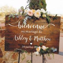 Vestido de Noiva Estilo francês Espelho Vinil Decalque Nomes Personalizados Adesivos de Parede de Casamento Bem-vindo Sinal de Vinil Murais Romântico Mariage Decoração AZ843