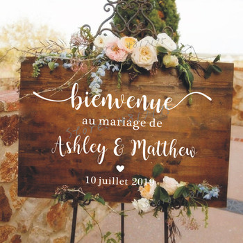 French Style Wedding Mirror Vinyl Decal Custom Names Wall Sticker Wedding Welcome Sign Vinyl Murals Romantic Mariage Décor AZ843