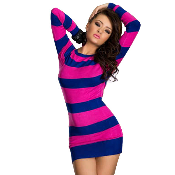 504d442fc21e Free Shipping Cheap Sexy Long Sleeve Winter Dress Hot Colored Stripes Dress  Blue and Pink Sexy Fashion Mini Dress