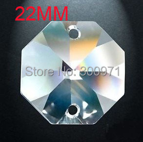 100pcs/lot 22mm crystal glass FLOWER CUTS octagon beads in 2 holes for home decoration accessories lamp part prism фото