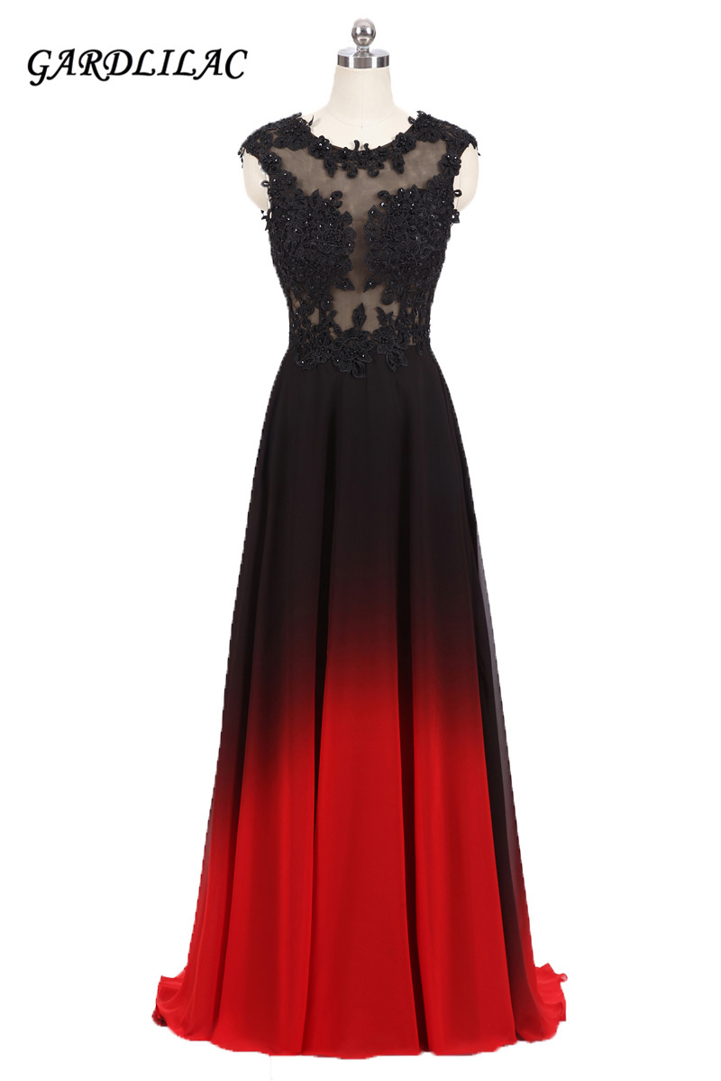 2018New Long Evening Prom Dress O Neck Lace Appliques Top Black Red Gradient Chiffon Ombre Party