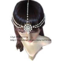 HC-130 Handmade Kundan stones hair chain Grecian style head chain head jewellery with Imitation Pearl