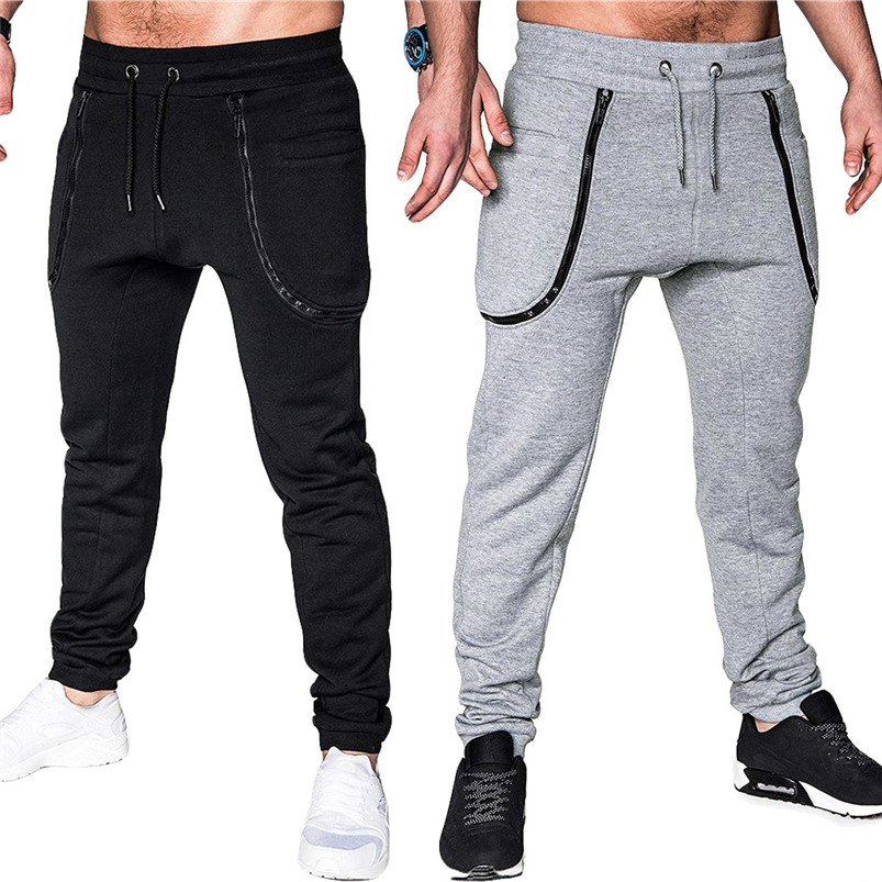 Men Pocket Pure Color Overalls Casual Pocket Sport Work Casual Trouser Pants Sports Running Accessories Pants 40LY05 (3)