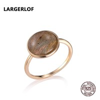 LARGERLOF Real 925 Sterling Silver Ring Naturl Moonstone Women Fine Jewelry Handmade Vintage Rings Silver 925 Jewelry RG49112