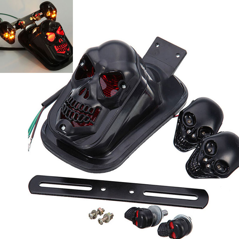 Black Motorcycle Skull Brake Stop Tail Light Assembly Integrated Turn Signals