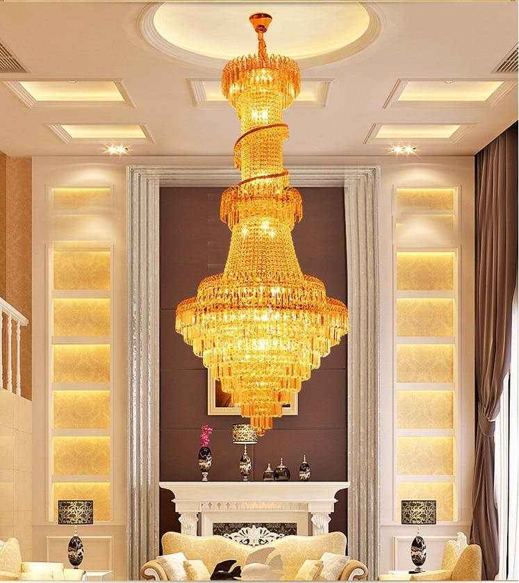 Goud Kroonluchters Lichtpunt Europese Luxe Lange Kroonluchter Home - Binnenverlichting - Foto 2