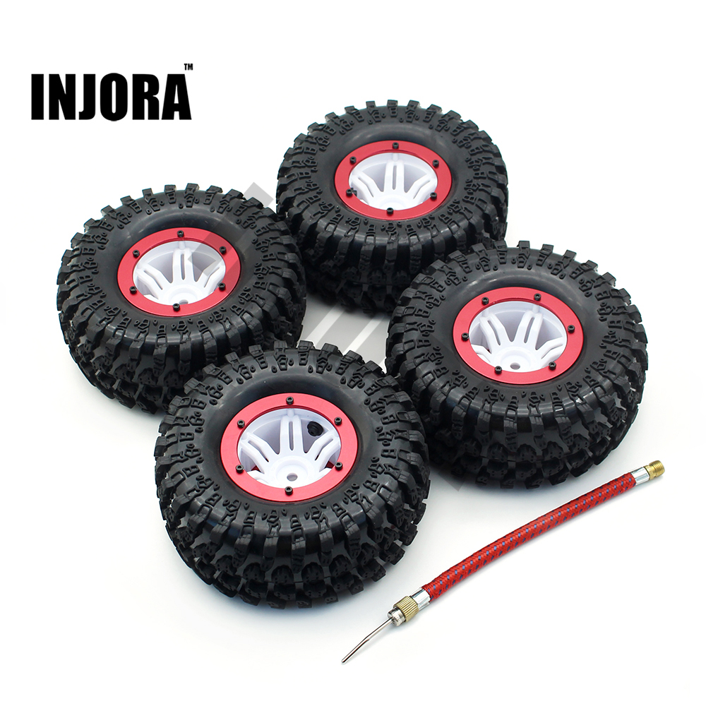 4PCS 2.2 Inch Air Pneumatic Tires & Beadlock Wheel Rim for 1:10 RC Rock Crawler SCX10 Wraith 90056 90045 90031 YETI 90026 90025 4pcs rc crawler truck 1 9 inch rubber tires
