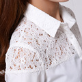 Autumn Winter Fashion Tops Lace Long-sleeve Shirt Brand Quality Patchwork Female White Slim Chiffon Blouses