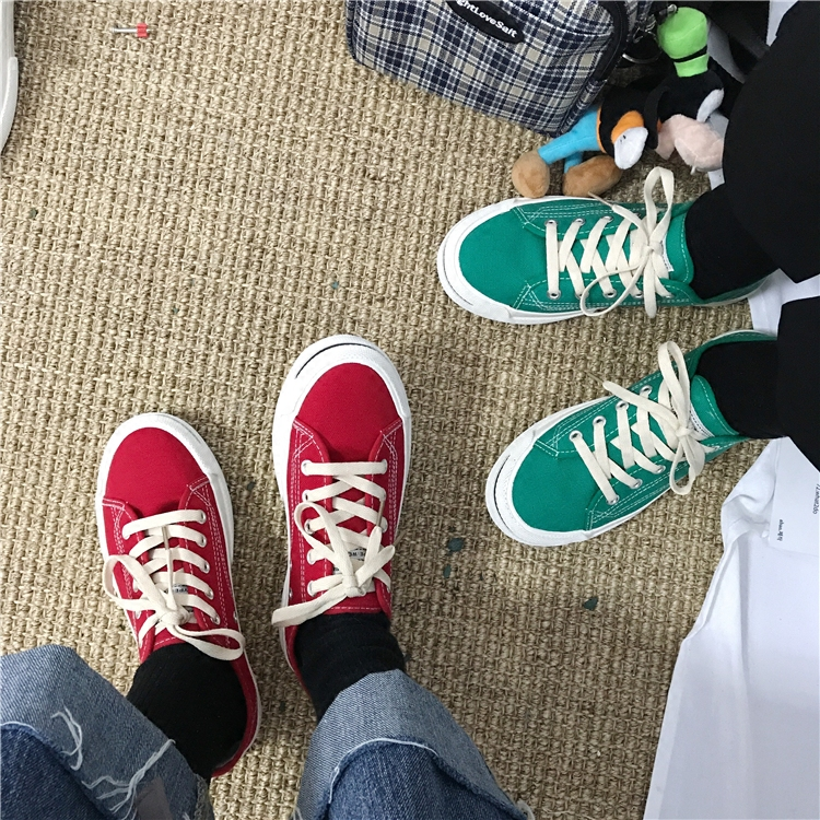 South Korea ulzzang Harajuku canvas shoes students open smile shoes ins star with the same paragraph wind shoes winter 34