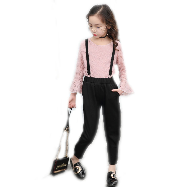 children girls clothes sets 2018 new fashion girls summer sets top long sleeve lace tshirt+suspender pants 2pcs suit sets 4-13T new fashion suspender with sleeveless shirt suit for girl