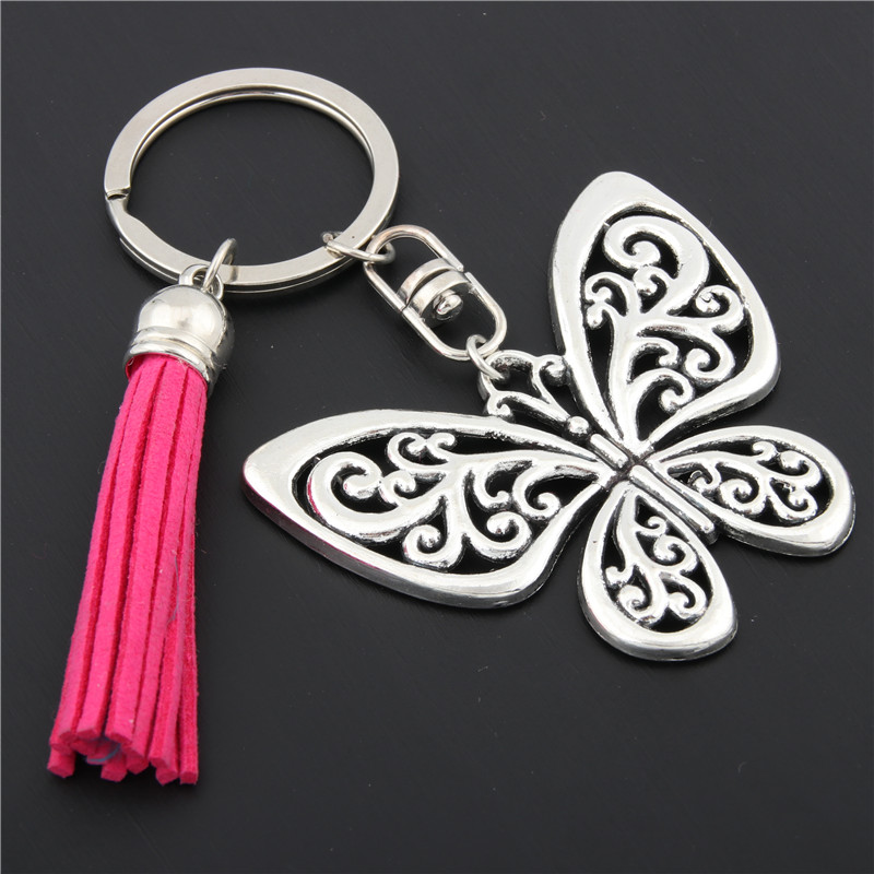 1pc Butterfly Gift Butterfly Charms With Pink Tassel Keyring Animal Keychain Bag Charms For Women Nature Jewelry E1631