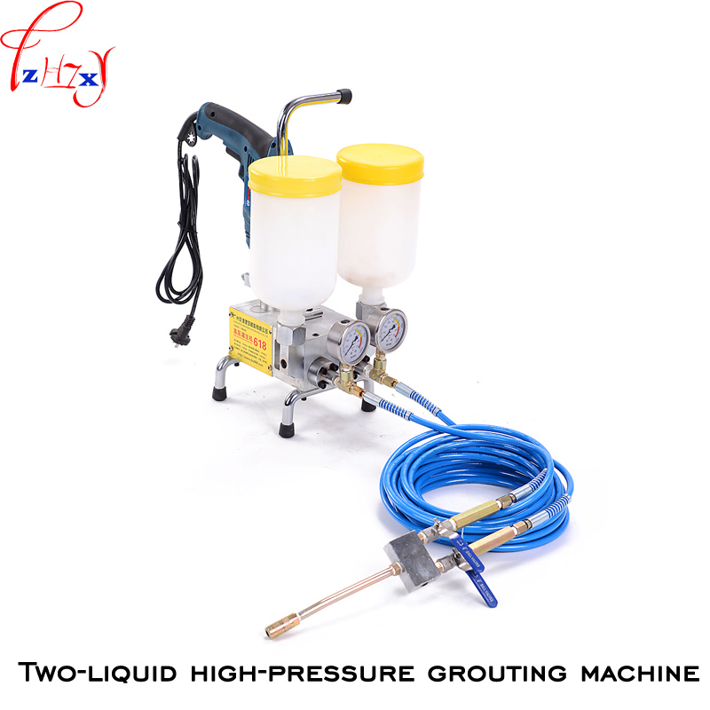 Double liquid type high pressure grouting machine JBY 618 double liquid polyurethane foam/epoxy injection grouting machine 220V