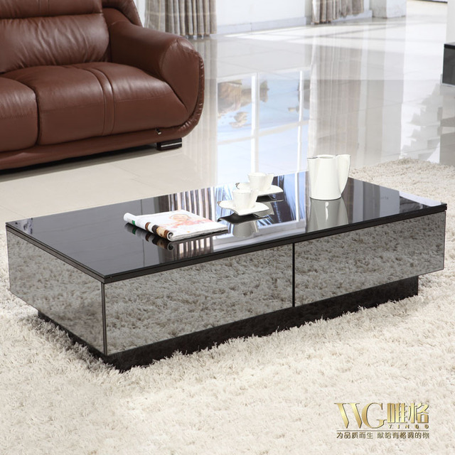 Stylish Black Mirror Effect Glass Living Room Coffee Table Storage