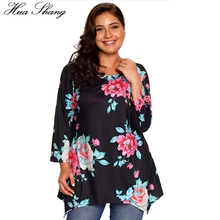 Hua Shang Spring Autumn Women O Neck Long Sleeve Casual Blouse Shirt Floral Print Bohemian Irregular Plus Size Women Tunic Tops