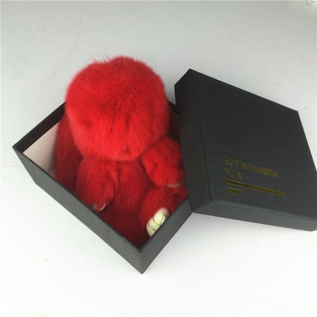 Rex Rabbit Fur 18cm Cute Real Rabbit Fur Pendant Bag Ornaments Toy Wallet Pom Pom Car Pendant with Gift Box