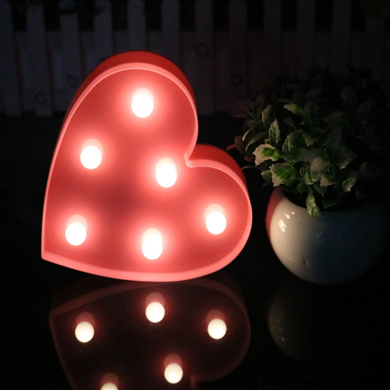 New Romantic Love Heart Night Light Lamps 3D Marquee