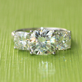 Queen Brilliance LUXRUY Real Platinum 4.3 Carats tcw Round Brilliant Cut 3 Stone Moissanite Ring Test Positive