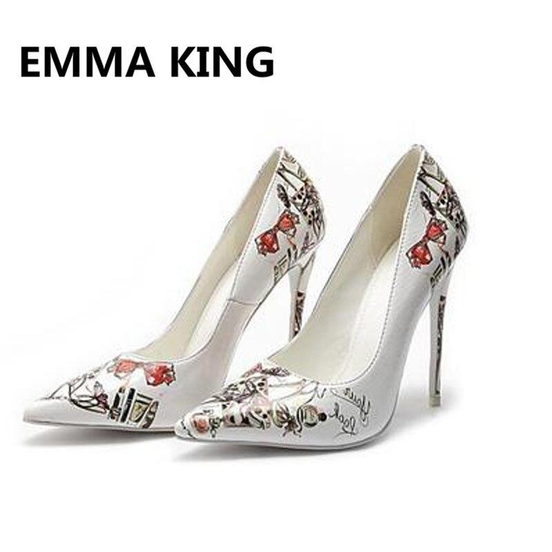 2019 г., женские туфли лодочки с принтом граффити, пикантные женские туфли из лакированной кожи на высоком каблуке с острым носком, белые туфли на шпильке, элегантная женская обувь