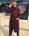 TAOVK 2016 de moda de nova estilo Rússia Mulheres Inverno longa seção casaco de lã Vinho Tinto grande lapela trench coat cinto