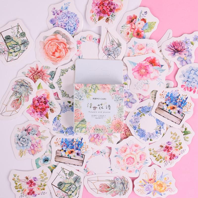 45 Pcs/lot Beautiful Flower Language Mini Paper Sticker Decoration DIY Album Diary Scrapbooking Label Sticker Kawaii Stationery