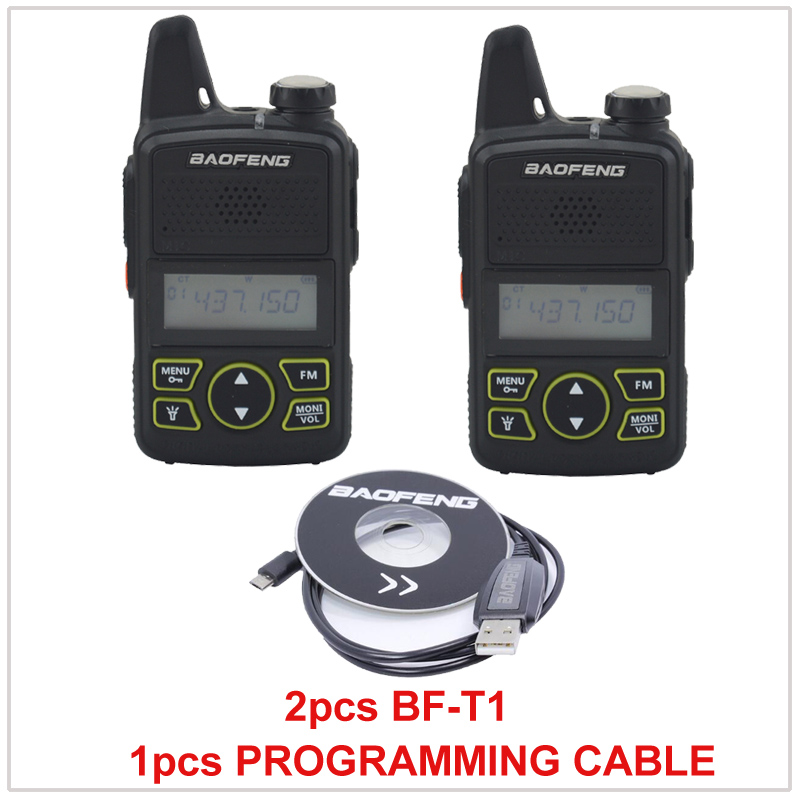 2pcs X Baofeng Radio BF-T1 UHF 400-470MHz 1W 20CH Small Mini Portable Ham FM Walkie Talkie With Earpiece+1pcs Programming Cable